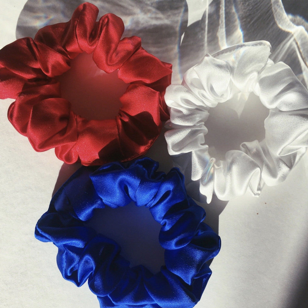 red white and blue silk scrunchies