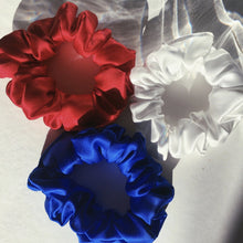 Load image into Gallery viewer, red white and blue silk scrunchies
