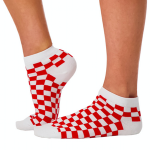 red and white checkered socks
