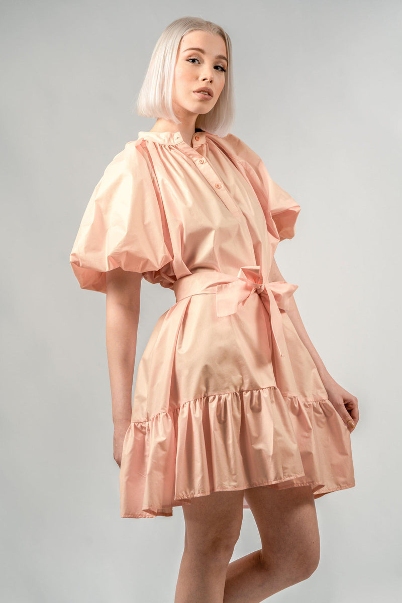 Creamy Peach Puffy Sleeve Summer Dress by Sanja Grohar