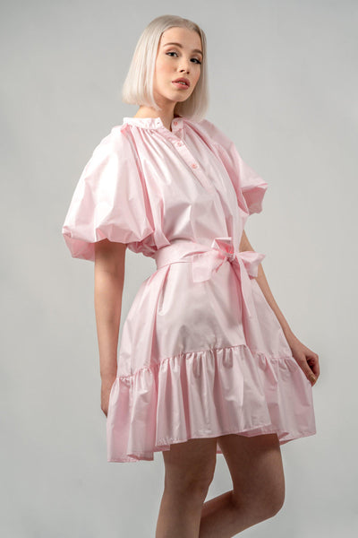 Baby Pink Puffy Sleeve Summer Dress