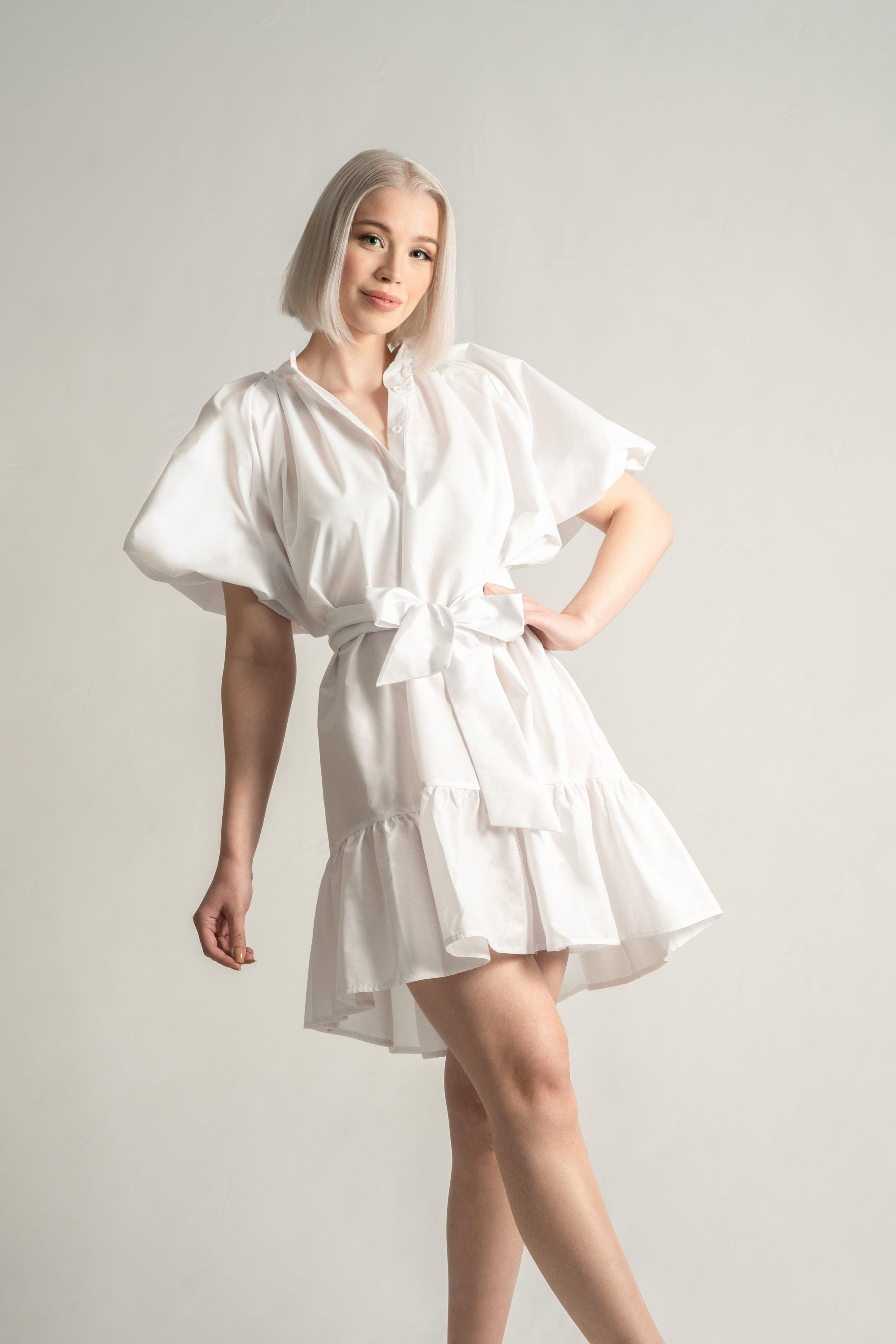 Cloudy White Puffy Sleeve Summer Dress