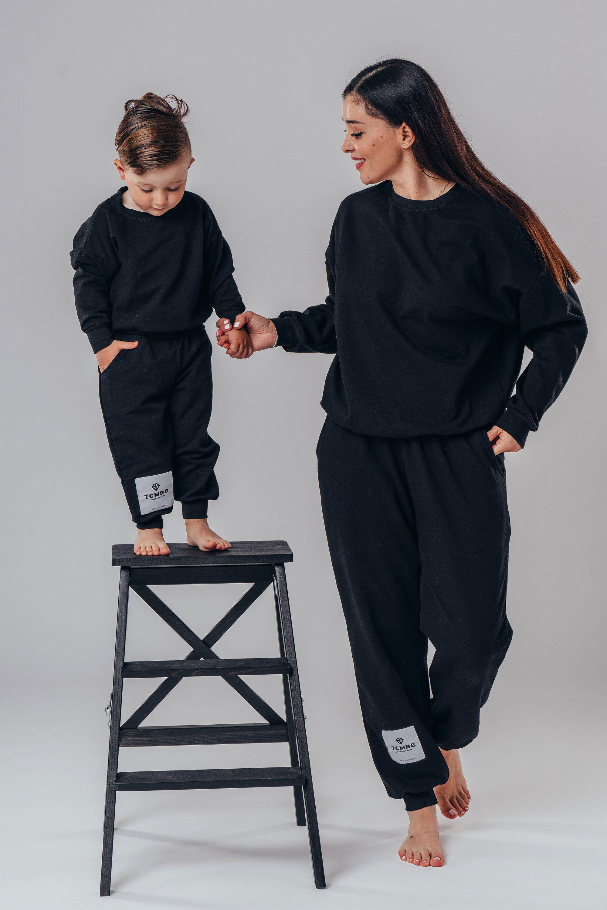 "Matching ""Me & Mini Me"" Full Tracksuits ( 4 piece set ) - Black"