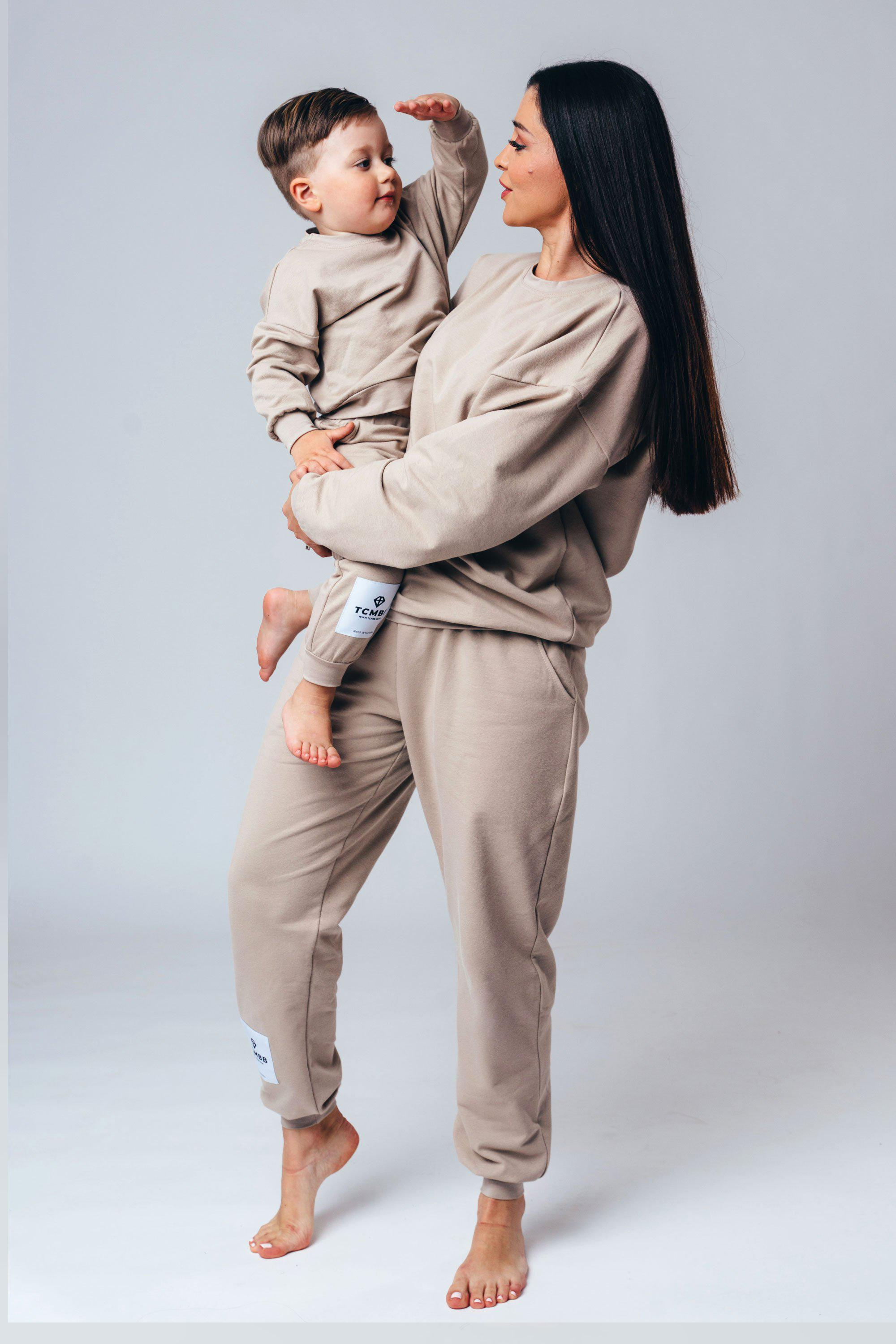 "Matching ""Me & Mini Me"" Full Tracksuits ( 4 piece set ) - Cappuccino"