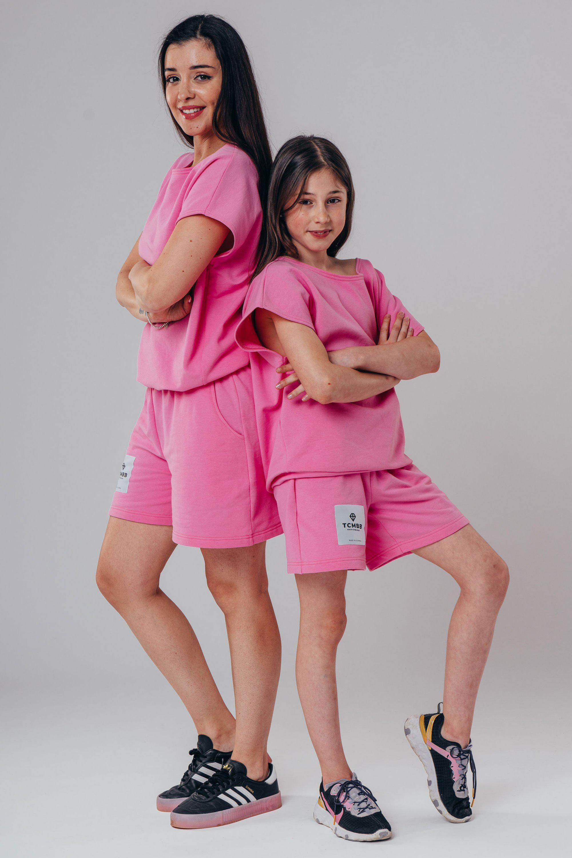 "Matching ""Me & Mini Me"" Summer Shorts & Tee ( 4 piece set ) - Hot Pink"