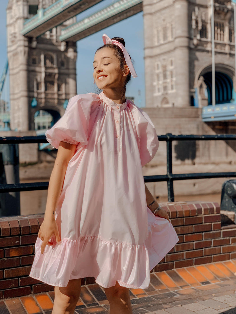 Baby Pink Puffy Sleeve Summer Dress by Sanja Grohar