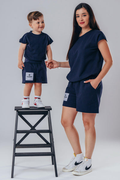 "Matching ""Me & Mini Me"" Summer Shorts & Tee ( 4 piece set ) - Navy blue"