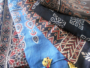 Ajrak Blockprint Silk Scarves