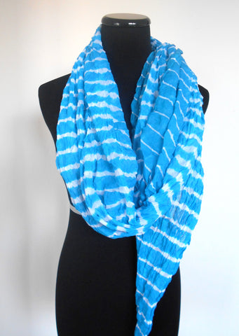 Leheriya Cotton Scarf- Turquoise Blue