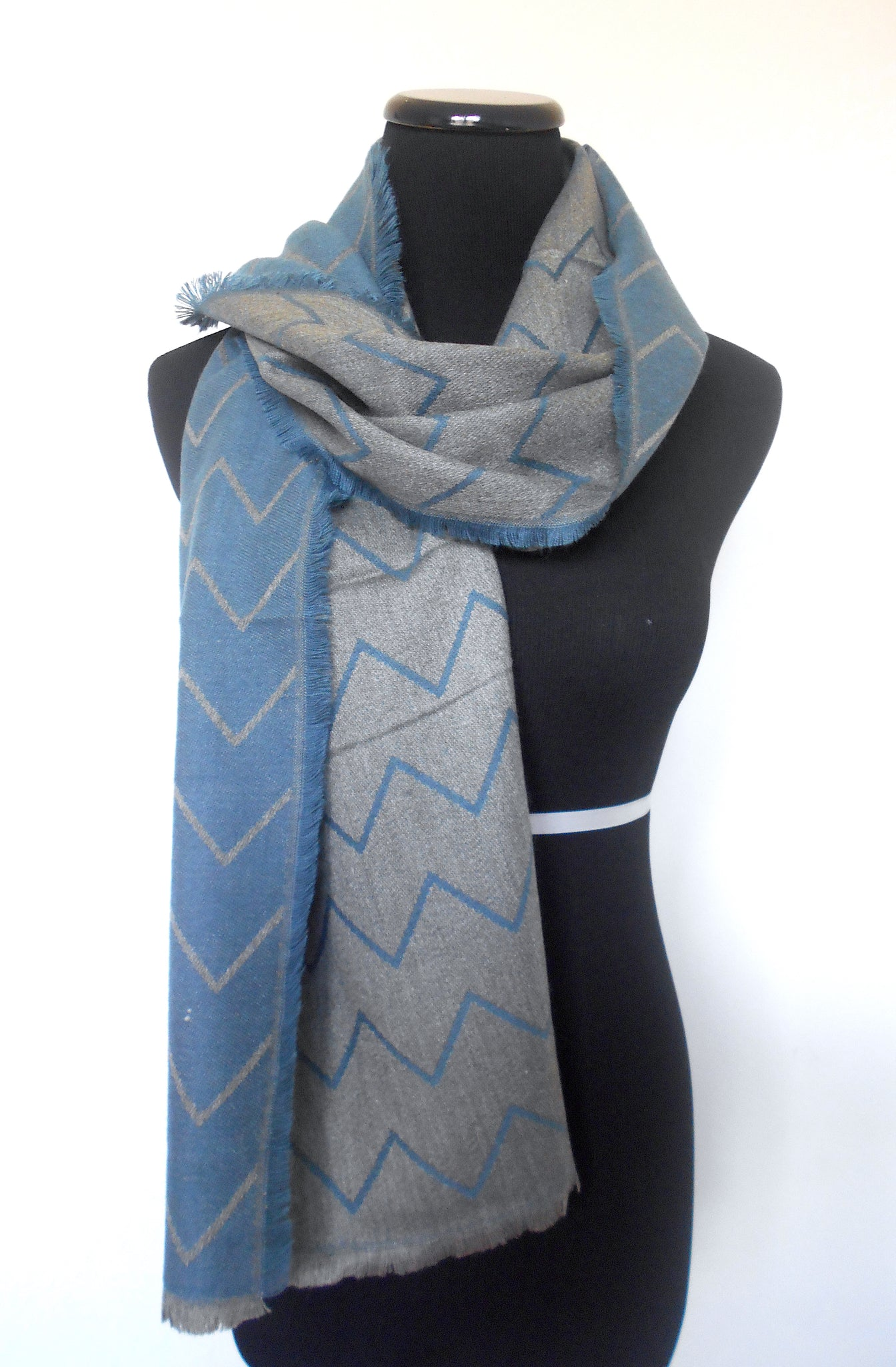 Muffler- Blue & Grey Chevron