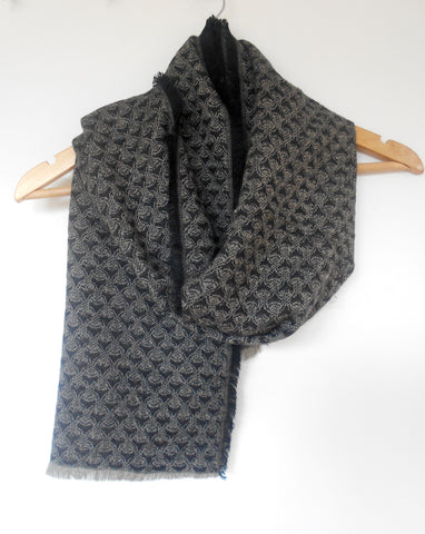 Muffler- Black & Taupe Fish Scale
