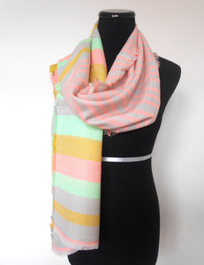 Muffler- Fluorescent & Grey Stripes