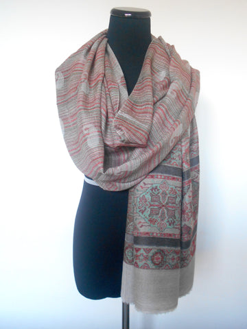 Mandala Cashmere Scarf- Red & Green