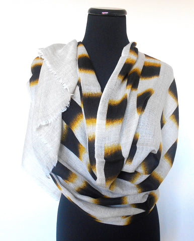 Batik Scarf- Off White with Black & Ochre