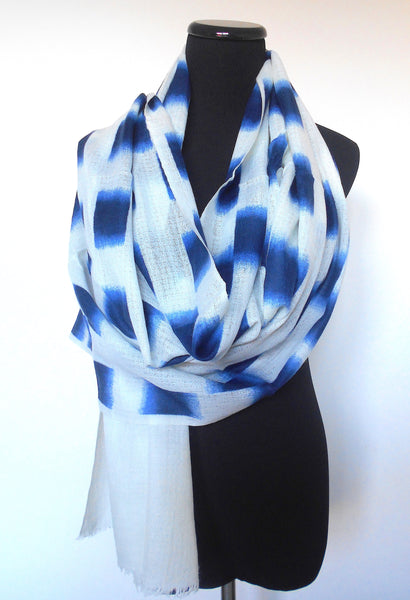 Batik Scarf- Off White with Indigo