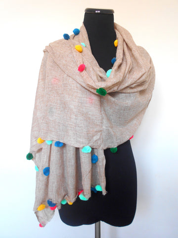 Boho Scarf- Beige with Multicolored Pom-Poms