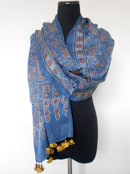 Ajrak Scarf- Paisley & Vines in Blue