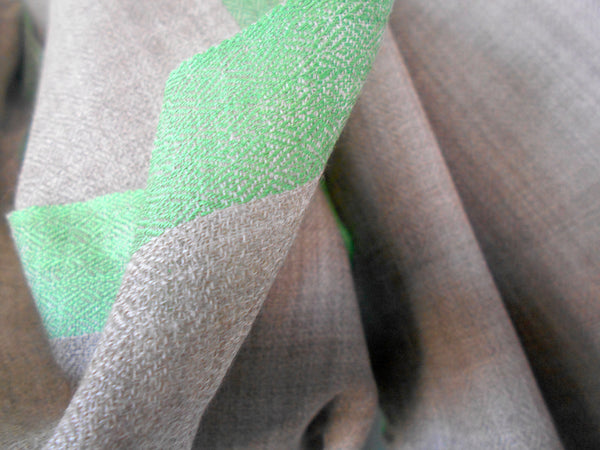 Contrasting Border Scarf- Taupe & Green