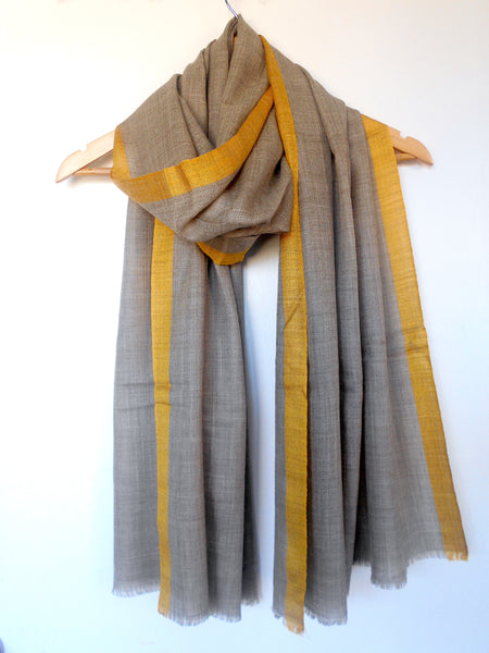 Contrasting Border Scarf- Taupe & Turmeric