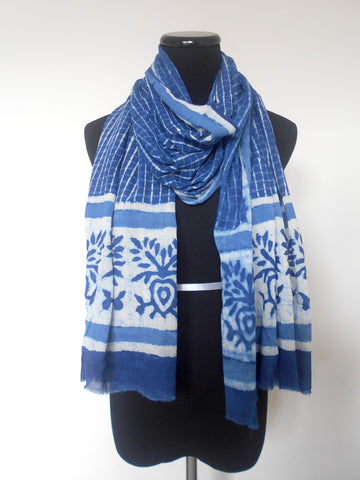 Bagru Scarf- Checks & Floral in Indigo