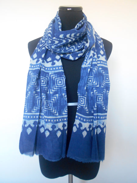 Bagru Scarf- Waves & Geometric in Indigo