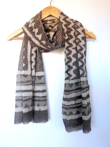 Bagru Scarf- Chevron & Stripes in Taupe