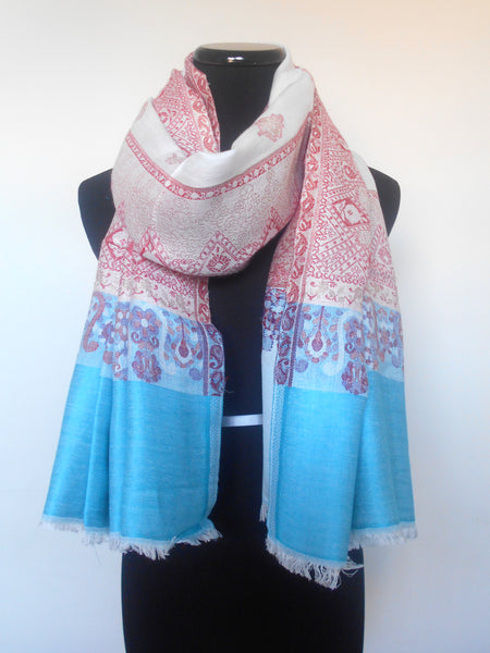 Benarasi Brocade Scarf- White with Blue Border