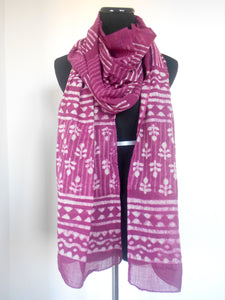 Dabu Scarf- Stripes & Floral in Pomegrante Pink