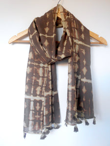 Dabu Scarf- Frequency Stripes in Taupe