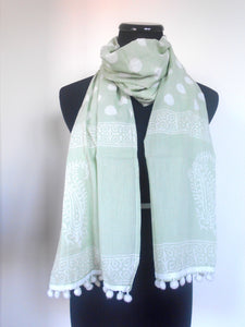 Bagru Scarf- Polka Dots & Paisley in Pistachio