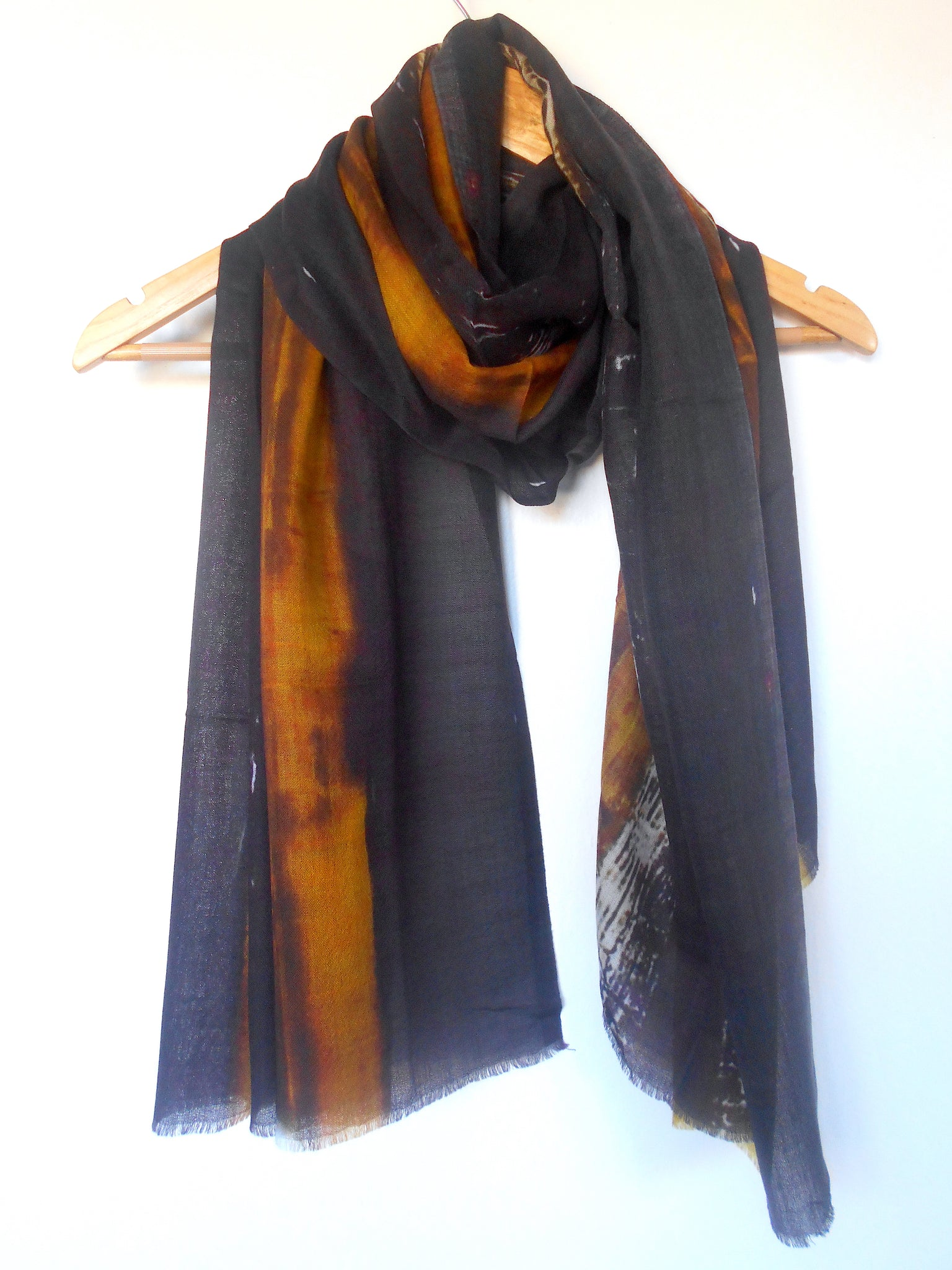 Digital Print Scarf- Black & Amber
