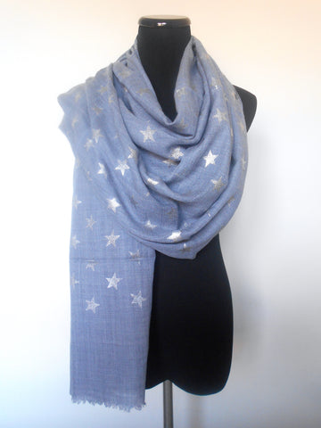 Star Emboss Scarf- Periwinkle & Silver