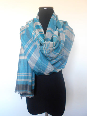 Plaid Scarf- Turqouise & Grey