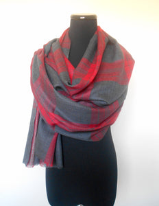 Plaid Scarf- Red & Grey