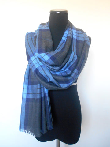 Plaid Scarf- Blue & Dark Grey