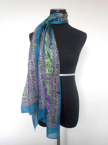 Screen Print Scarf- Green, Turquoise & Purple Floral