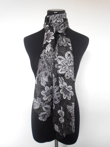 Screen Print Scarf- Black & White Foral