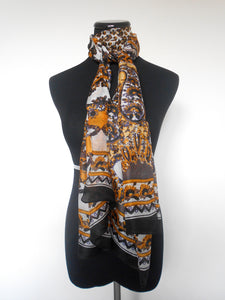 Screen Print Scarf- Ochre & Brown Paisely Floral
