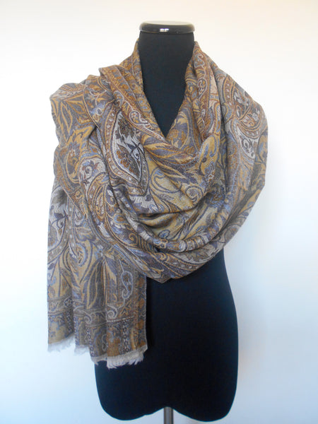 Jamawar Cashmere Scarf- Brown & Grey