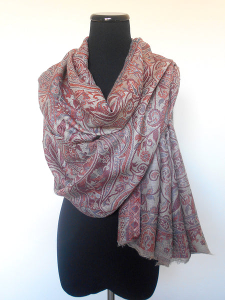 Jamawar Cashmere Scarf- Taupe & Red