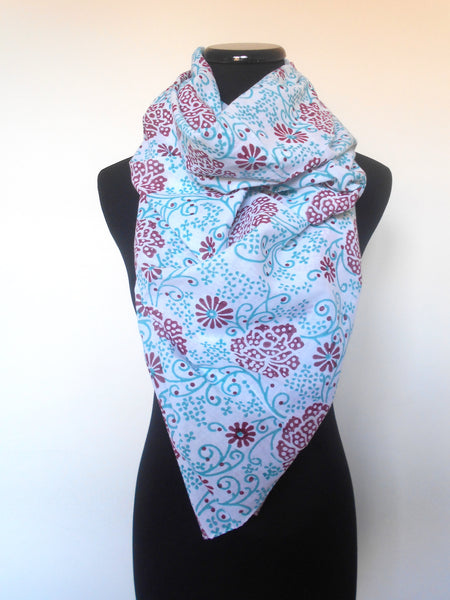 Sanganeri Cotton Scarf- Green & Red Floral
