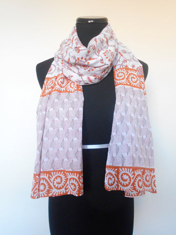 Sanganeri Cotton Scarf- Rust & Grey Floral Clouds