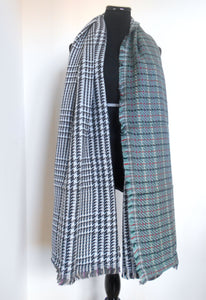 Blanket Scarf- Grey Green & Pink Red Plaid | Houndstooth