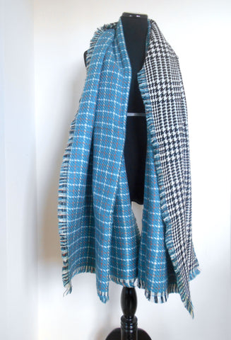 Blanket Scarf- Blue & Orange Plaid | Houndstooth