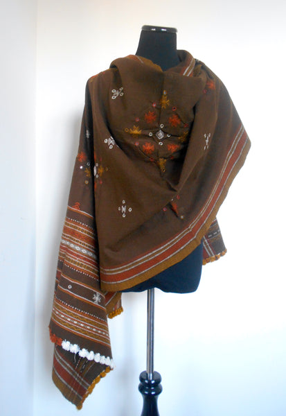 Kutchi Shawl- Brown