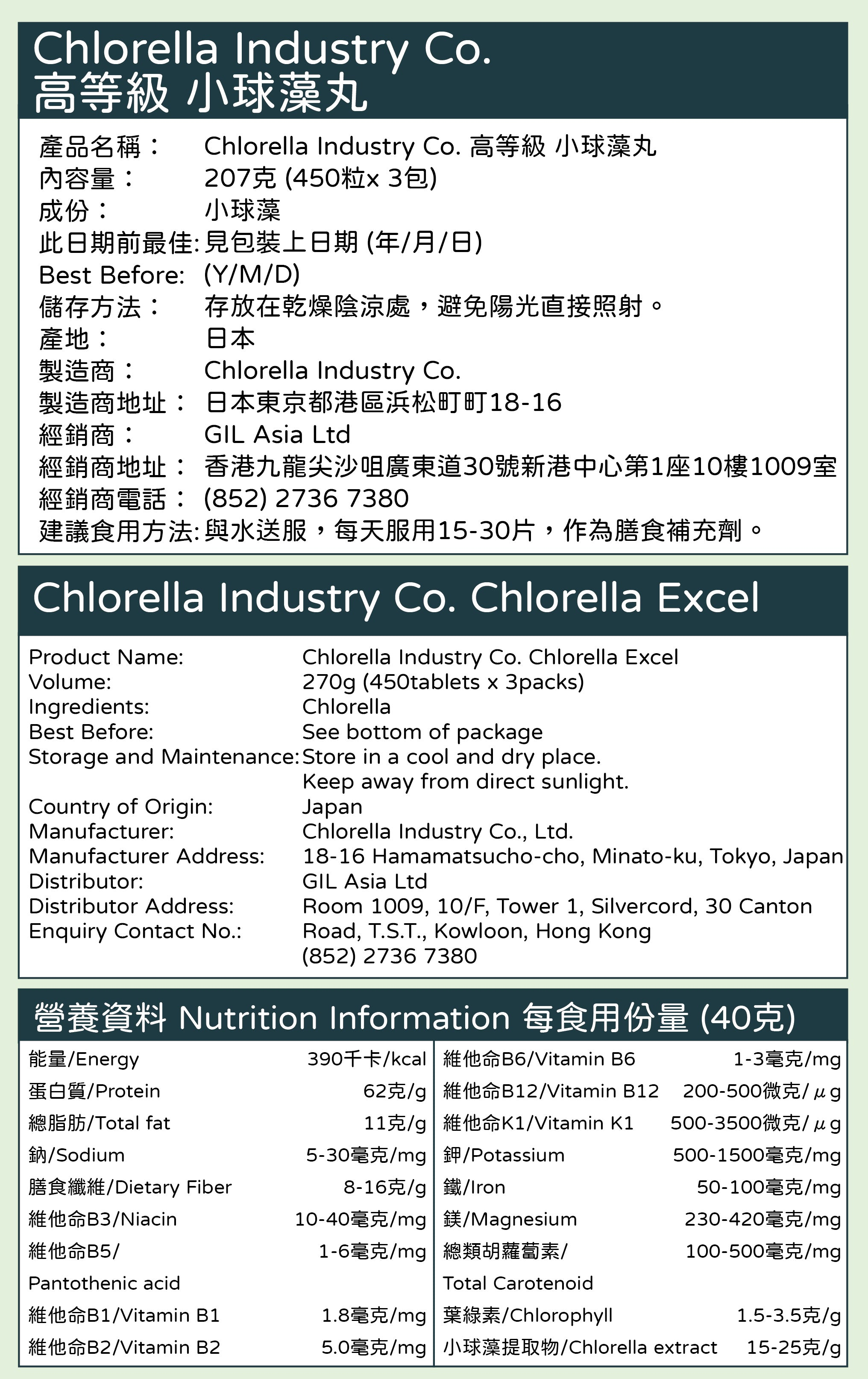 Chlorella Industry Co. 高等級 小球藻丸