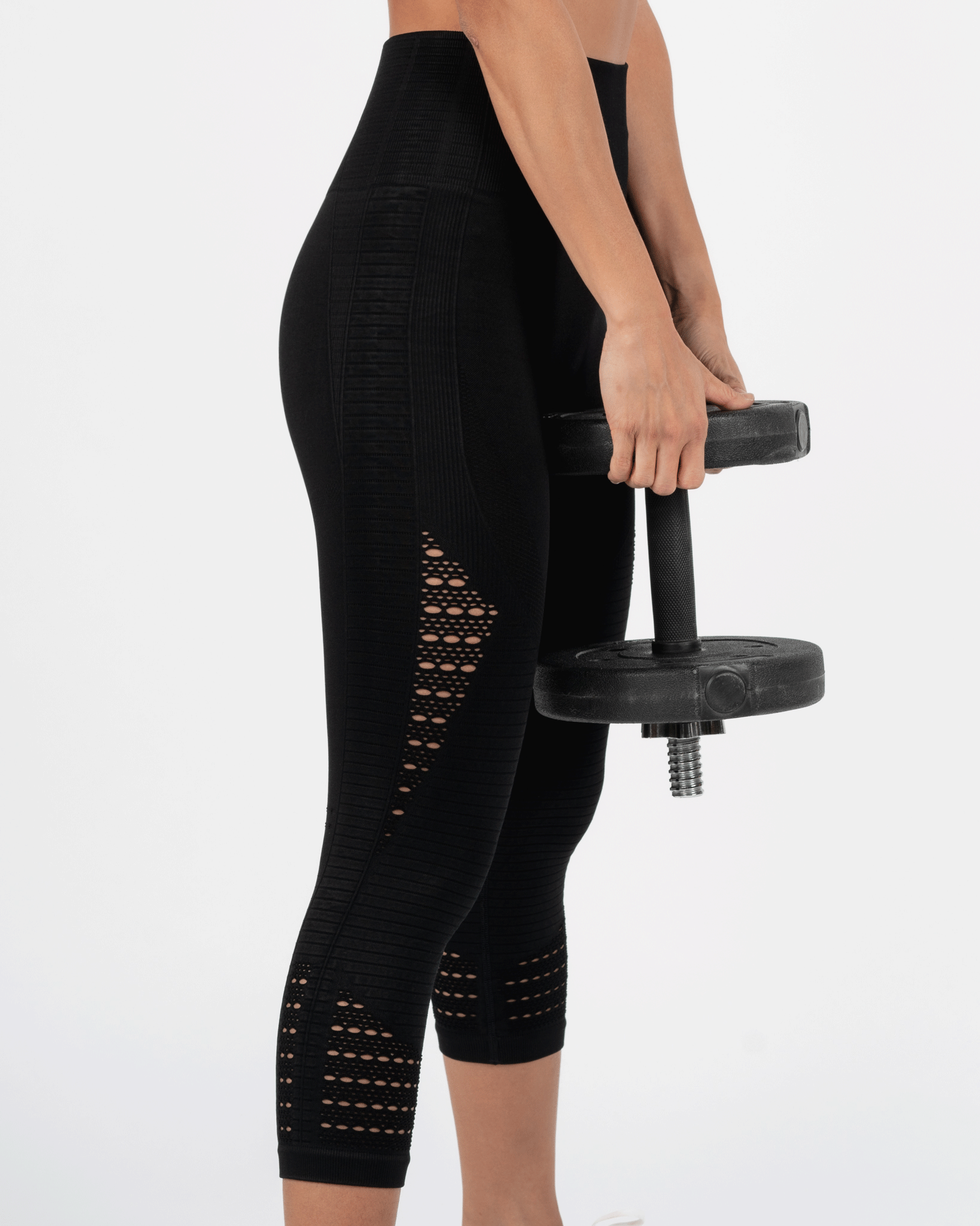Crop Laser Cut Leggings - Black