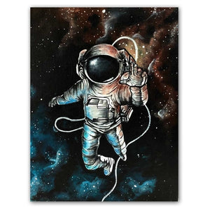 Classic Astronaut Wall Art On Canvas - Royal  Holiday Shop