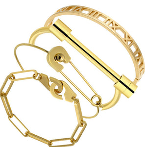 The Romans Numerals Pin & Horseshoe Gold Steel Bracelet Set - Royal  Holiday Shop