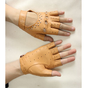 Rivet Half Finger Leather Driving Gloves - Royal  Holiday Shop